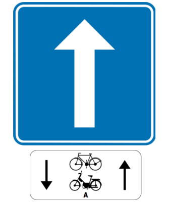 Traffic sign of Belgium: Road with one-way traffic, except for cyclists and mopeds class A