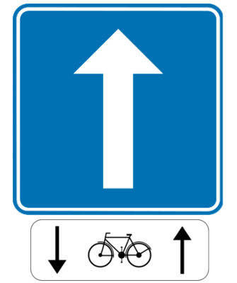 Traffic sign of Belgium: Road with one-way traffic, except for cyclists