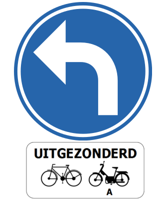 Traffic sign of Belgium: Turning left mandatory, except for cyclists and mopeds class A