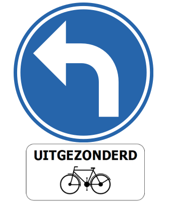 Traffic sign of Belgium: Turning left mandatory, except for cyclists