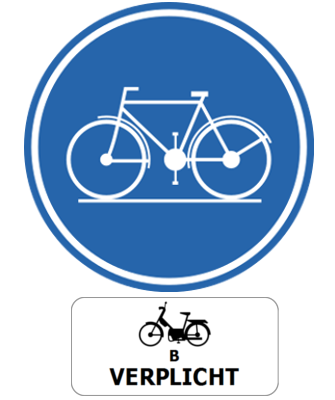 Traffic sign of Belgium: Mandatory path for cyclists and mopeds class B
