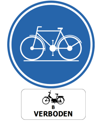 Traffic sign of Belgium: Mandatory path for cyclists, mopeds class B prohibited