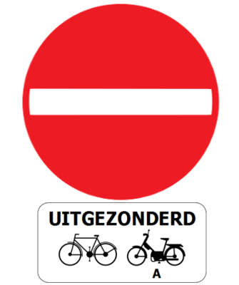 Traffic sign of Belgium: Entry prohibited, except for cyclists and mopeds class A