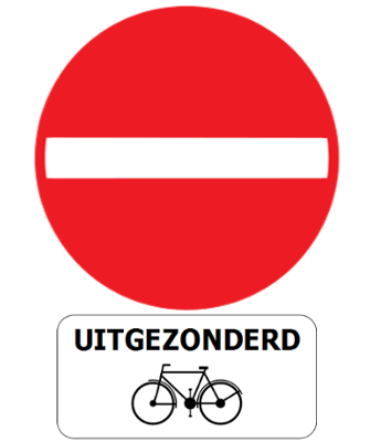 Traffic sign of Belgium: Entry prohibited, except for cyclists