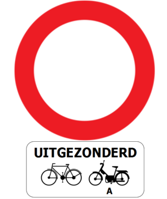 Traffic sign of Belgium: Entry prohibited in both directions, except for cyclists and mopeds class A