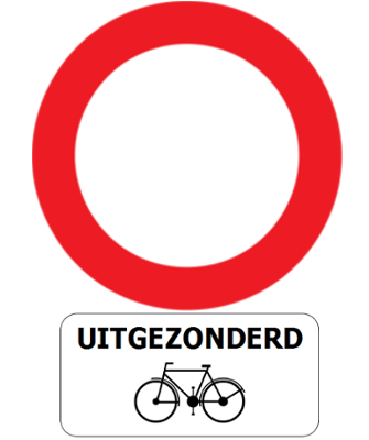 Traffic sign of Belgium: Entry prohibited in both directions, except for cyclists