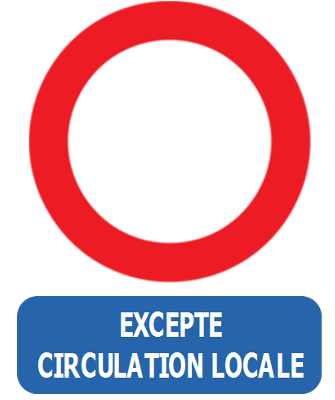 Traffic sign of Belgium: Entry prohibited in both directions, except for local traffic