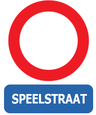 Traffic sign of Belgium: Entry prohibited, playstreet