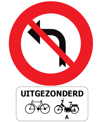 Traffic sign of Belgium: Turning left prohibited, except for cyclists and mopeds class A