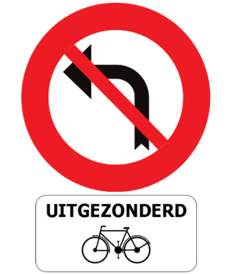 Traffic sign of Belgium: Turning left prohibited, except for cyclists
