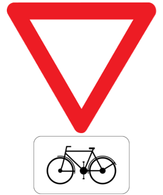 Traffic sign of Belgium: Cyclists have to give way