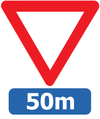 Traffic sign of Belgium: Give way to all drivers, 50 meter ahead
