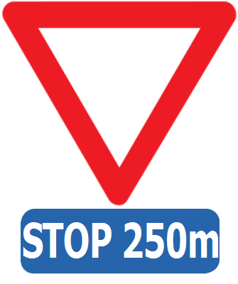 Traffic sign of Belgium: Stop and give way, 250 meter ahead