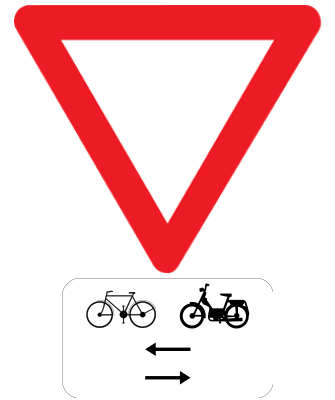 Traffic sign of Belgium: Give way, watch out for cyclists and mopeds from left and right