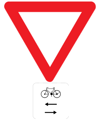 Traffic sign of Belgium: Give way, watch out for cyclists from left and right