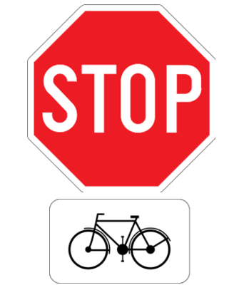 Traffic sign of Belgium: Cyclists have to stop and give way