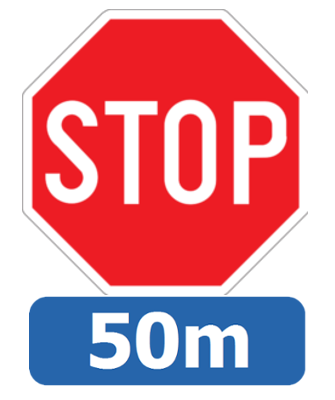 Traffic sign of Belgium: Stop and give way, 50 meter ahead