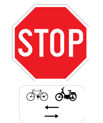Traffic sign of Belgium: Stop and give way, watch out for cyclists and mopeds from left and right