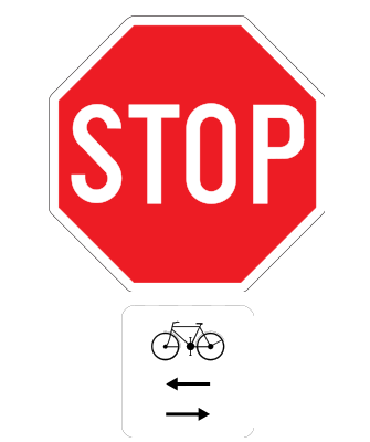 Traffic sign of Belgium: Stop and give way, watch out for cyclists from left and right