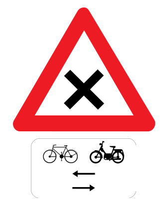 Traffic sign of Belgium: Warning for an uncontrolled crossroad, watch out for cyclists and mopeds from left and right