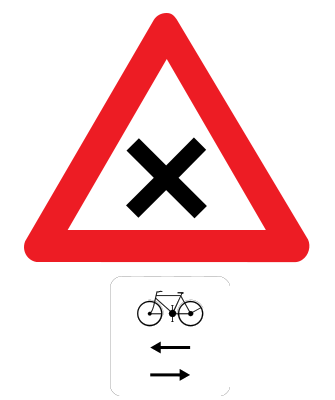 Traffic sign of Belgium: Warning for an uncontrolled crossroad, watch out for cyclists from left and right