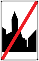 Traffic sign of Belgium: End of the built-up area