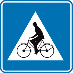 Traffic sign of Belgium: Crossing for cyclists