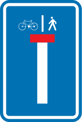 Traffic sign of Belgium: Dead end street with a passage for pedestrians and cyclists