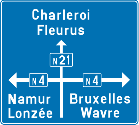 Traffic sign of Belgium: Information about the directions of the crossroad