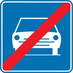 Traffic sign of Belgium: End of the expressway