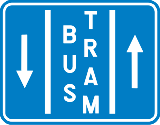 Traffic sign of Belgium: Lane for buses and trams