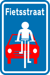 Traffic sign of Belgium: Lane for cyclists