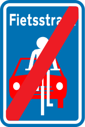 Traffic sign of Belgium: End of the lane for cyclists