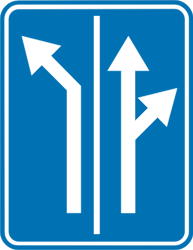 Traffic sign of Belgium: Overview of the lanes and their direction