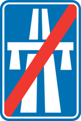 Traffic sign of Belgium: End of the motorway