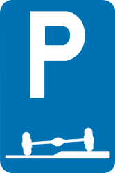 Traffic sign of Belgium: Parking only allowed partly on the road