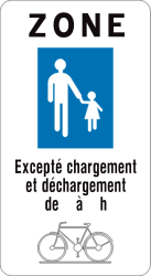Traffic sign of Belgium: Begin of a zone for pedestrians
