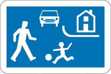 Traffic sign of Belgium: Begin of a residential area