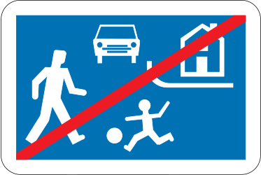 Traffic sign of Belgium: End of the residential area