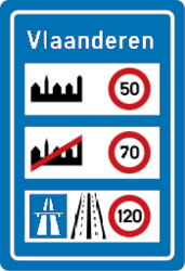 Traffic sign of Belgium: National speed limits