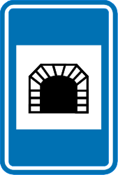 Traffic sign of Belgium: Begin of a tunnel