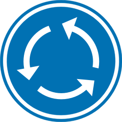 Traffic sign of Belgium: Mandatory direction of the roundabout
