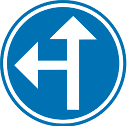 Traffic sign of Belgium: Driving straight ahead or turning left mandatory
