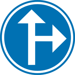 Traffic sign of Belgium: Driving straight ahead or turning right mandatory