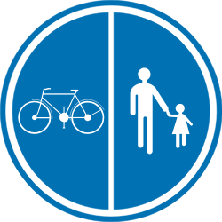 Traffic sign of Belgium: Mandatory divided path for pedestrians and cyclists