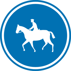 Traffic sign of Belgium: Mandatory path for equestrians