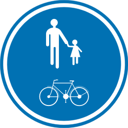 Traffic sign of Belgium: Mandatory shared path for pedestrians and cyclists