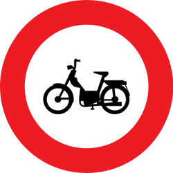 Traffic sign of Belgium: Mopeds prohibited