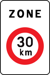 Traffic sign of Belgium: Begin of a zone with speed limit