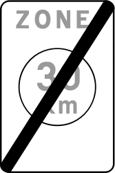 Traffic sign of Belgium: End of the zone with speed limit